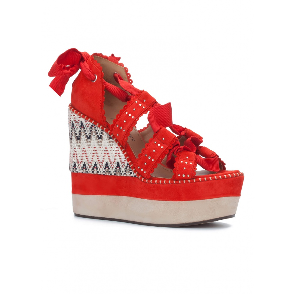 Lace-up wedge sandals in red suede - online shoe store Pura Lopez