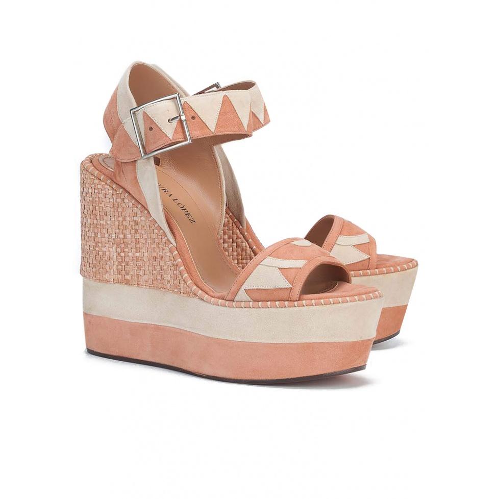 Sandalias de cuña en rosa y arena - tienda de zapatos Pura López