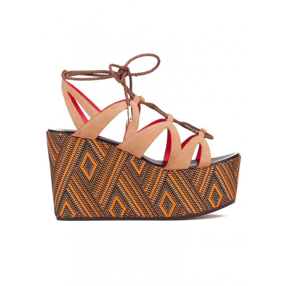 Lace-up wedge sandals in hazelnut