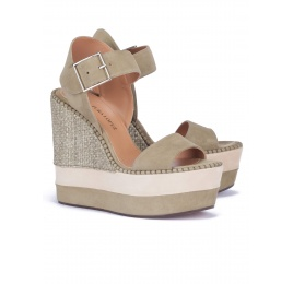 High wedge sandals in kaki suede and raffia Pura López
