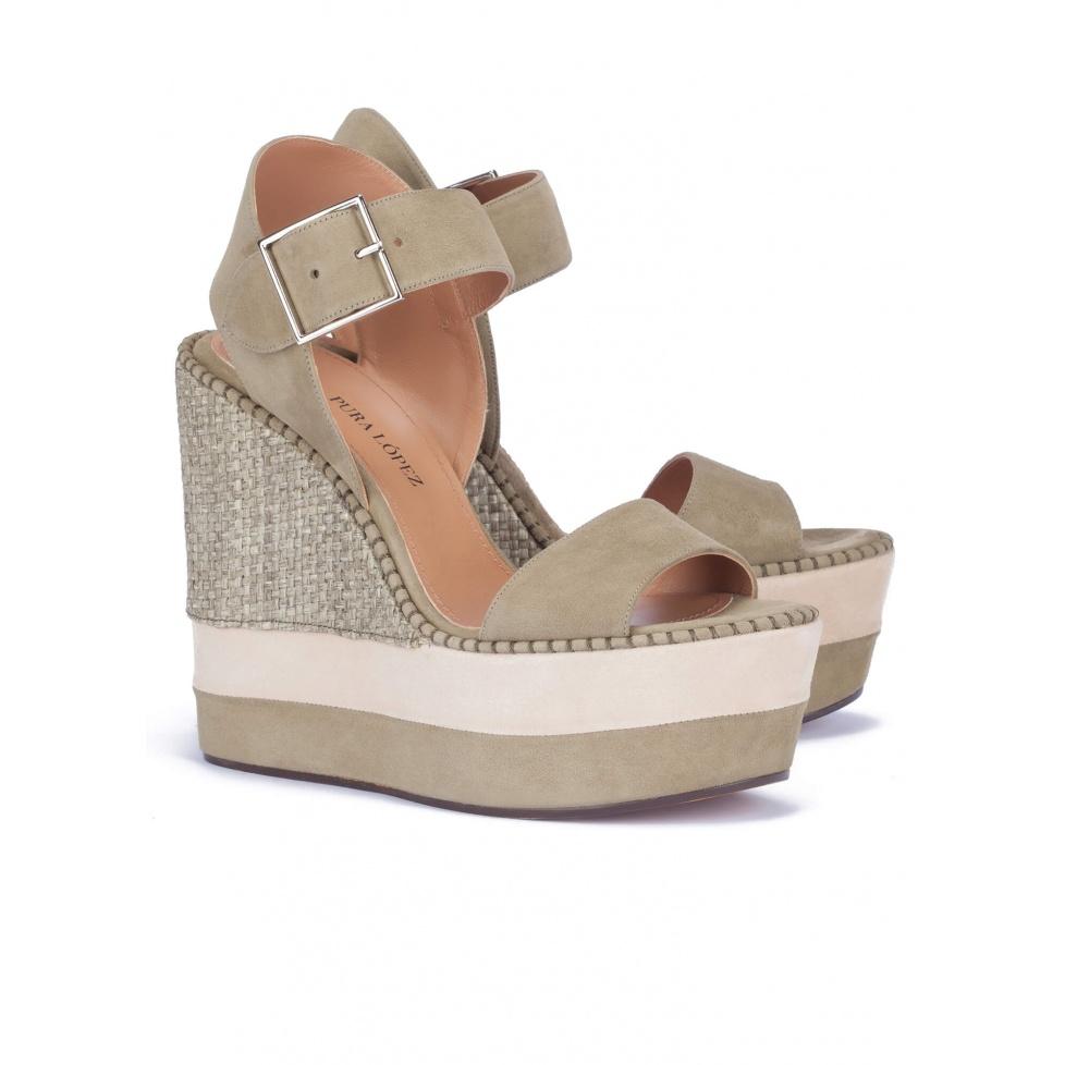 High wedge sandals in kaki suede - online shoe store Pura Lopez