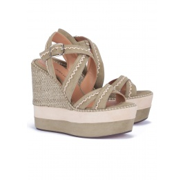 Kaki suede high wedge sandals Pura López