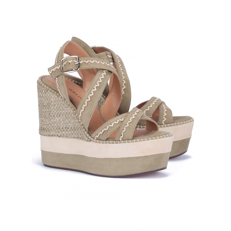 High wedge sandals in kaki suede - online shoe store Pura Lopez