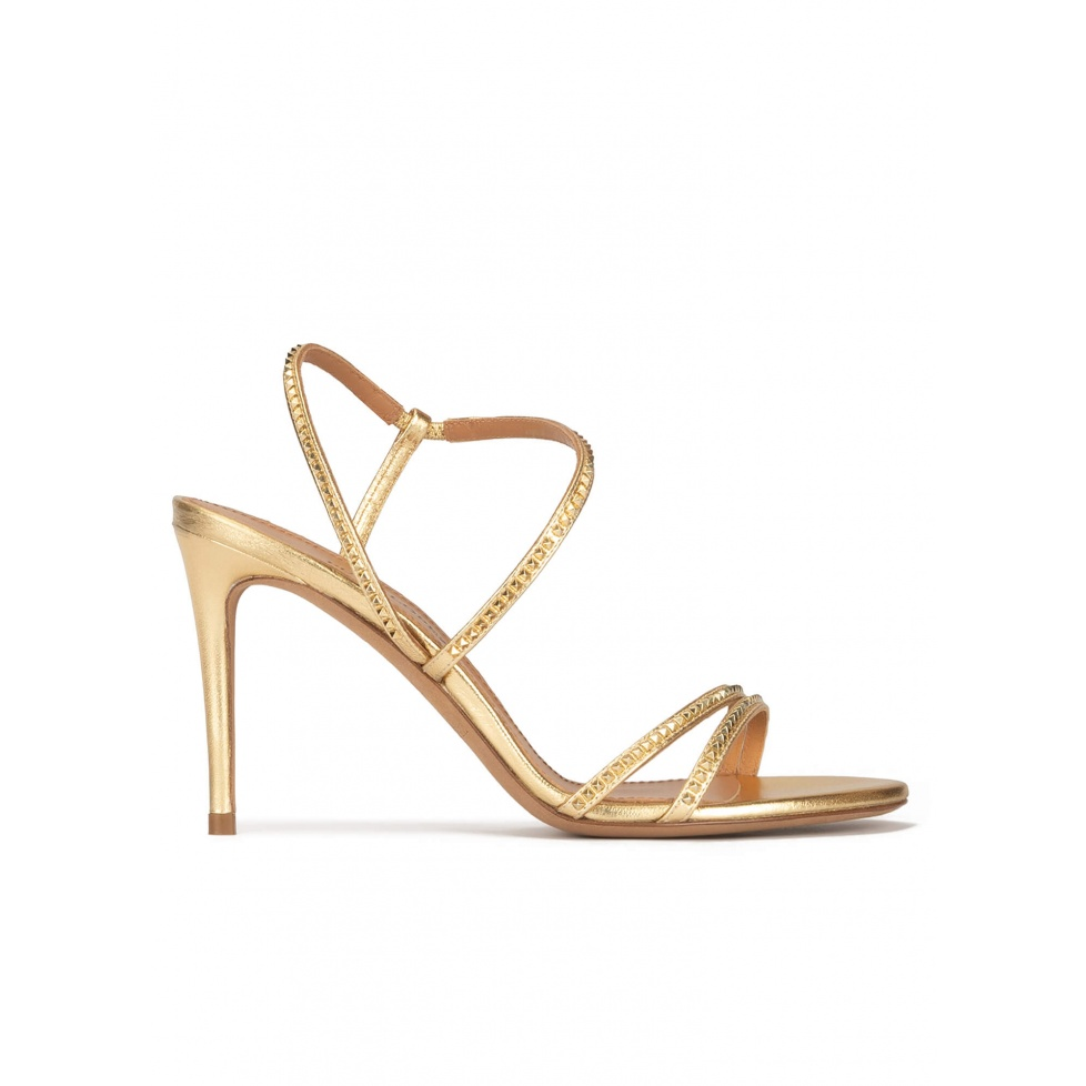 High stiletto heel sandals in gold leather