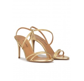 High stiletto heel sandals in gold leather Pura López