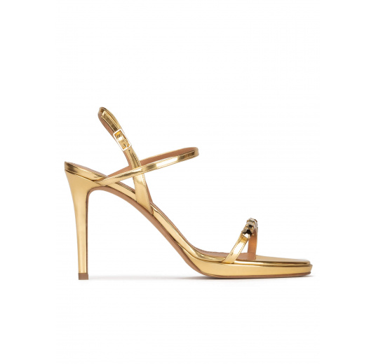 Crystal embellished platform high heel sandals in gold leather Pura López