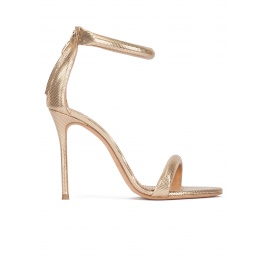 Gold party high heel sandals in textured leather Pura López