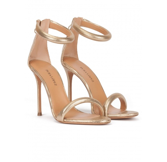 Gold party high heel sandals in textured leather Pura L�pez