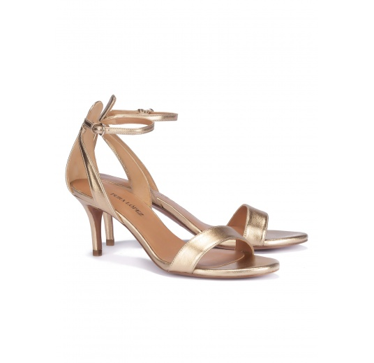 Golden ankle strap mid heel sandals Pura L�pez