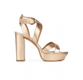 Golden strappy platform high block heel sandals in nappa leather Pura López