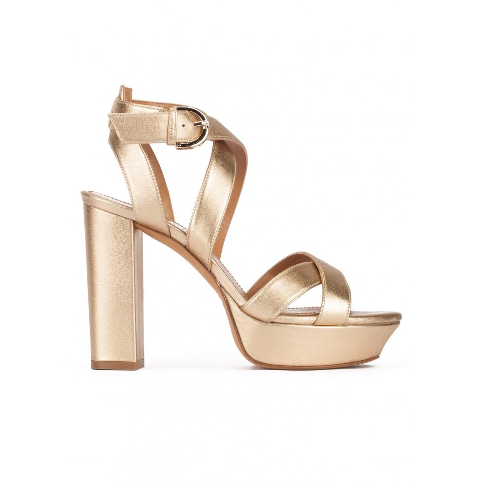 Golden strappy platform high block heel sandals in nappa leather