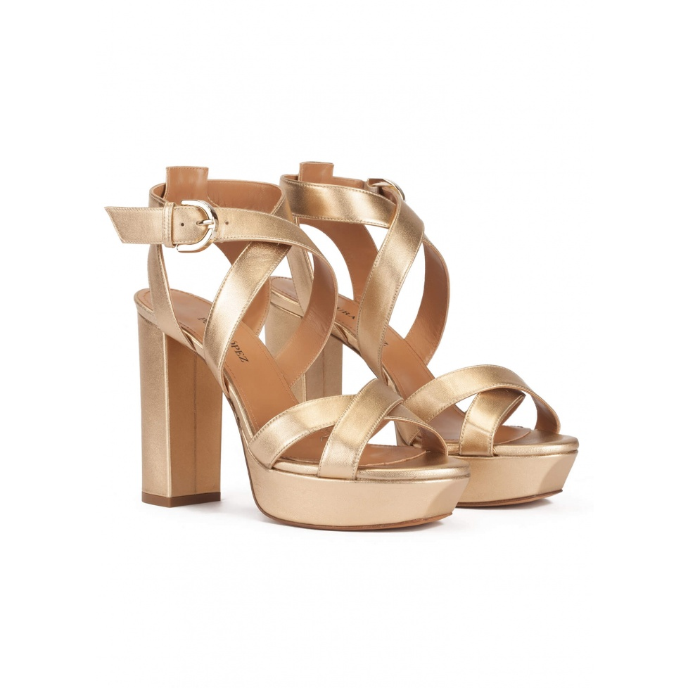 Golden strappy platform high block heel sandals in leather