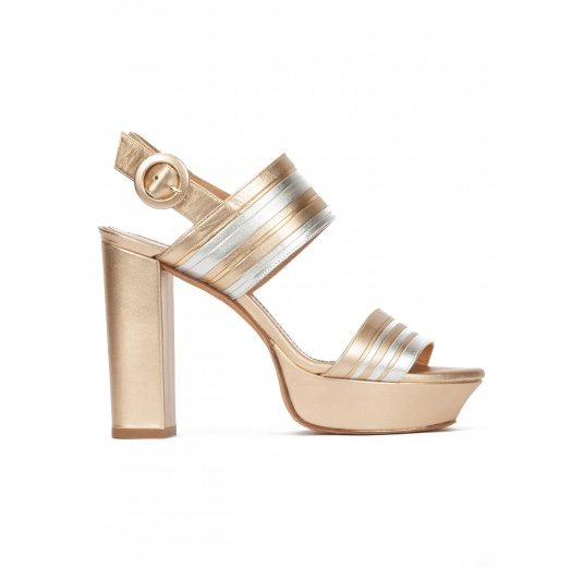 140bf3aab Chunky heel platform sandals in gold and silver leather Pura L pez ...