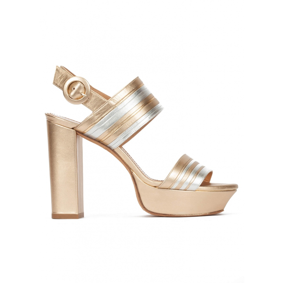 Chunky heel platform sandals in gold and silver leather