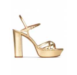 Multi-strap platform high block heel sandals in gold leather Pura López