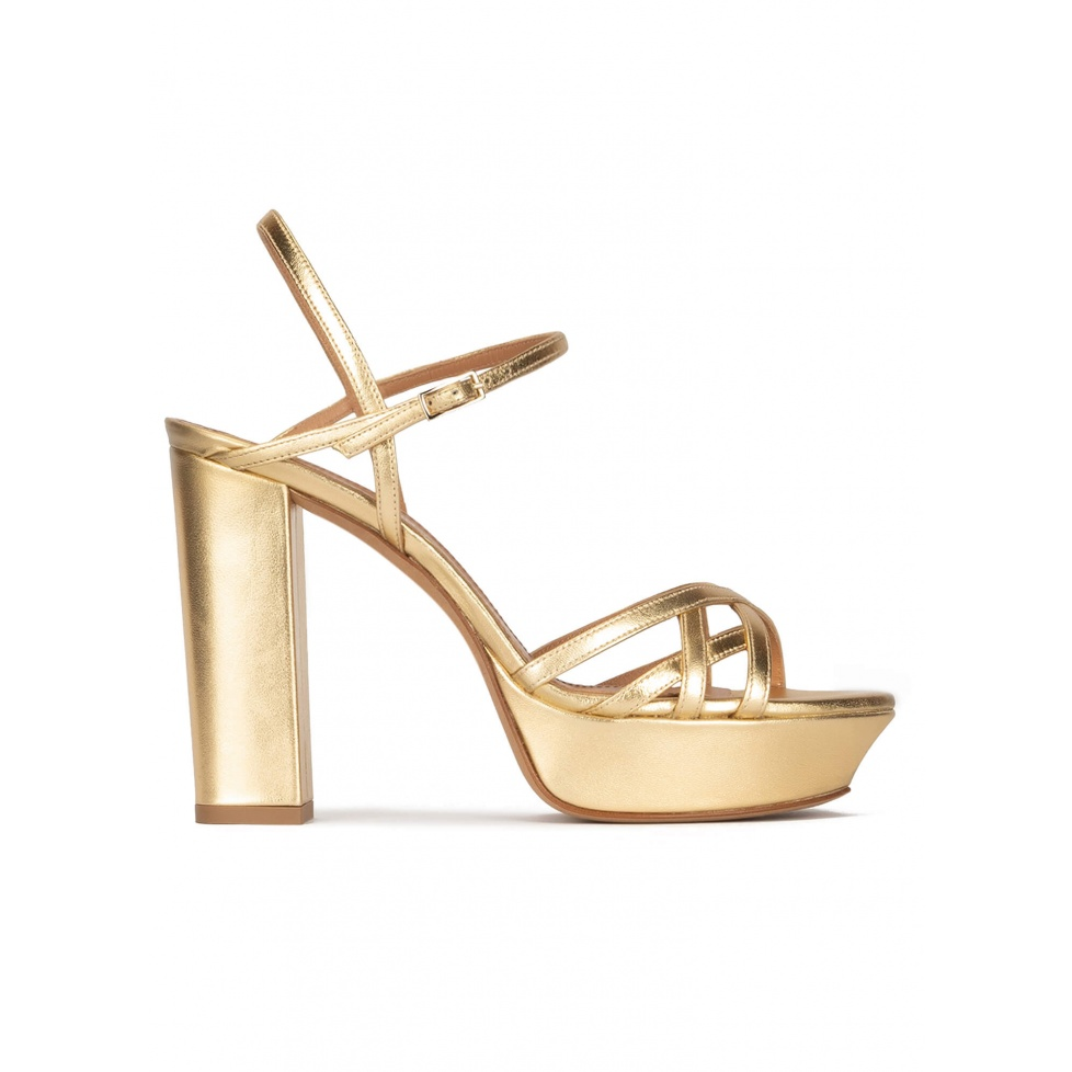 Multi-strap platform high block heel sandals in gold leather