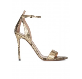 Ankle strap high heel sandals in gold metallic cracked-leather Pura López