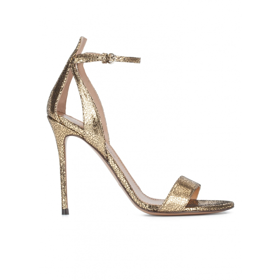 Ankle strap high heel sandals in gold metallic cracked-leather