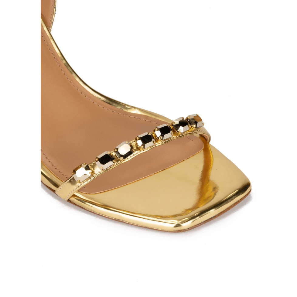 Crystal-embellished mid heel sandals in gold leather
