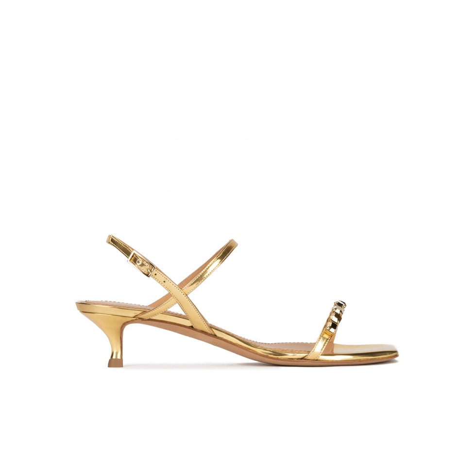 Crystal-embellished mid heel sandals in gold metallic leather