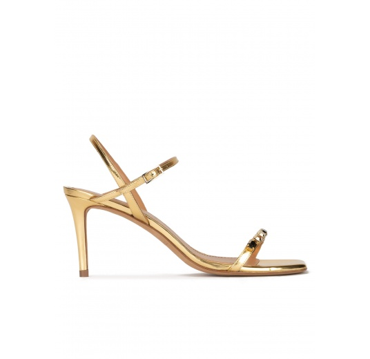 Crystal-embellished mid heel sandals in gold leather Pura López