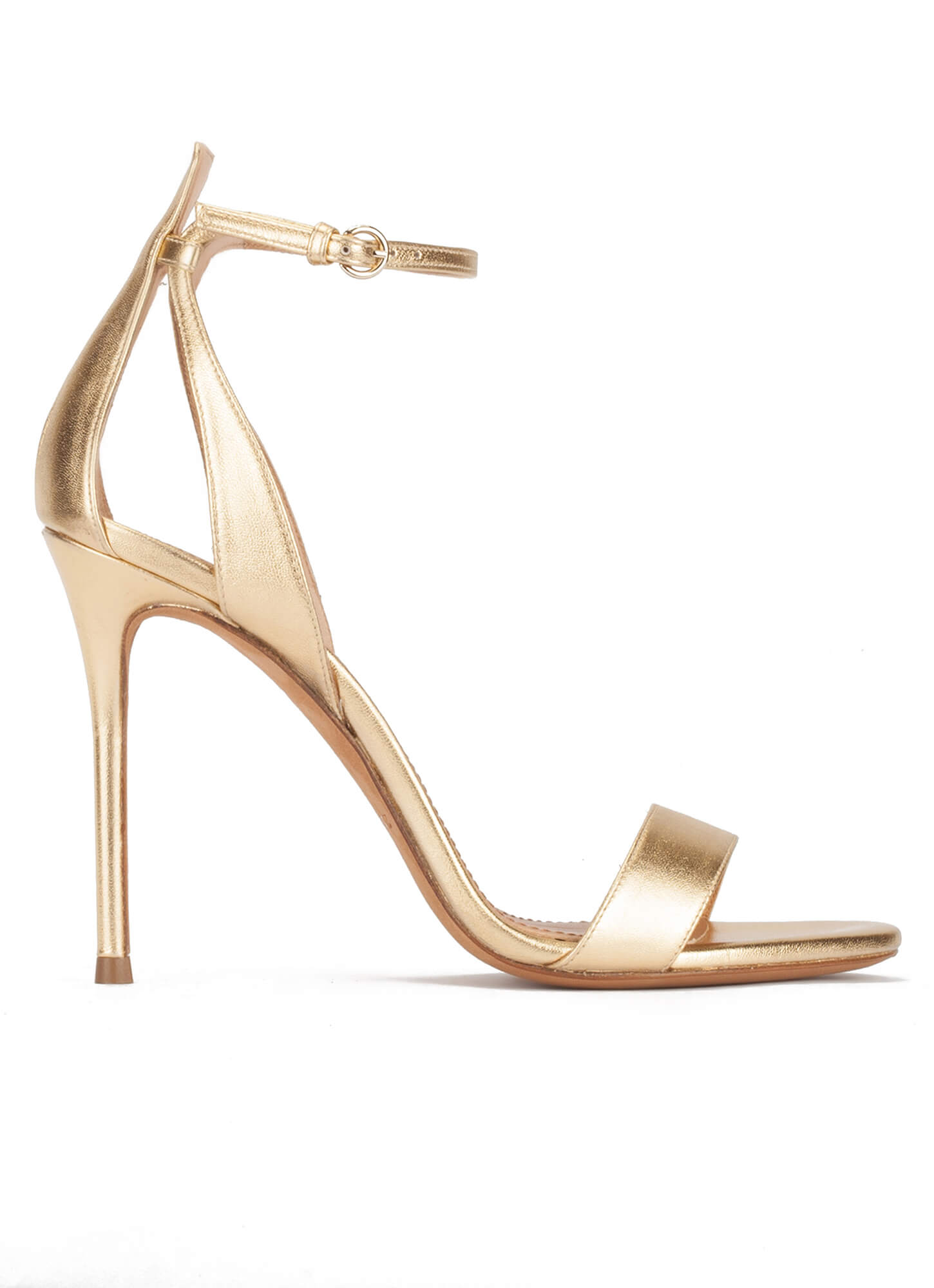 a5cedcd803 Ankle-strap high heeled sandals in gold metallic leather . PURA LOPEZ