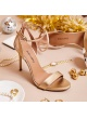 Ankle-strap high heeled sandals in gold metallic leather