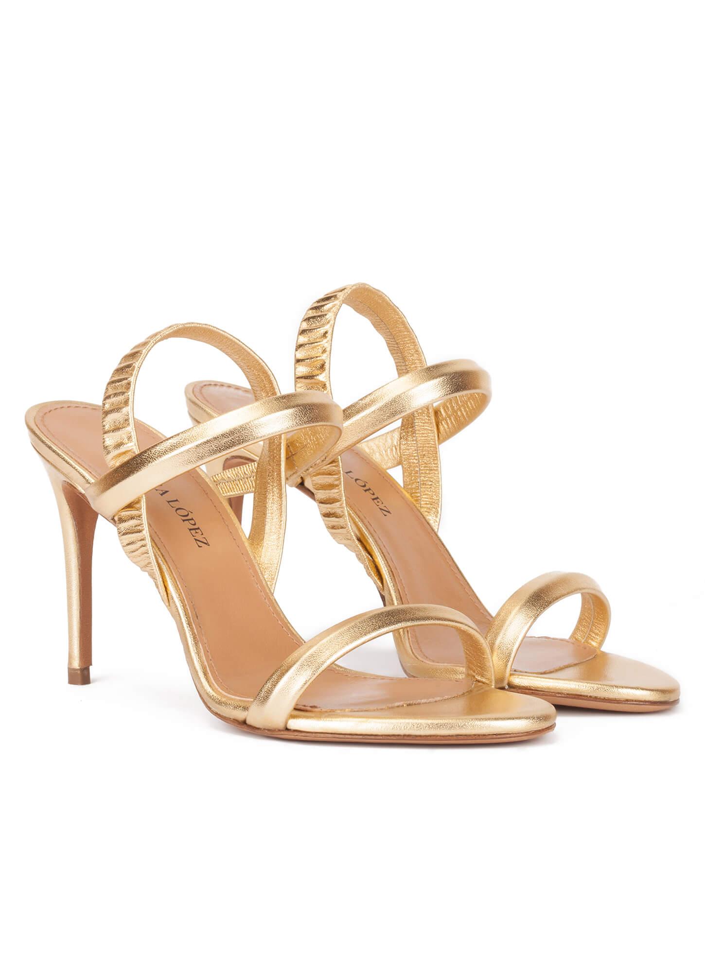 c64bf4c8b8 Ornella Pura López. High stiletto heel sandals in gold leather High  stiletto heel sandals in gold leather ...
