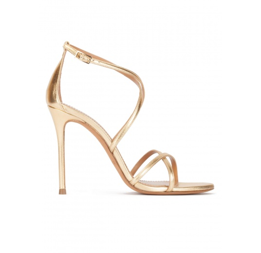 Gold leather strappy high heel sandals Pura L�pez
