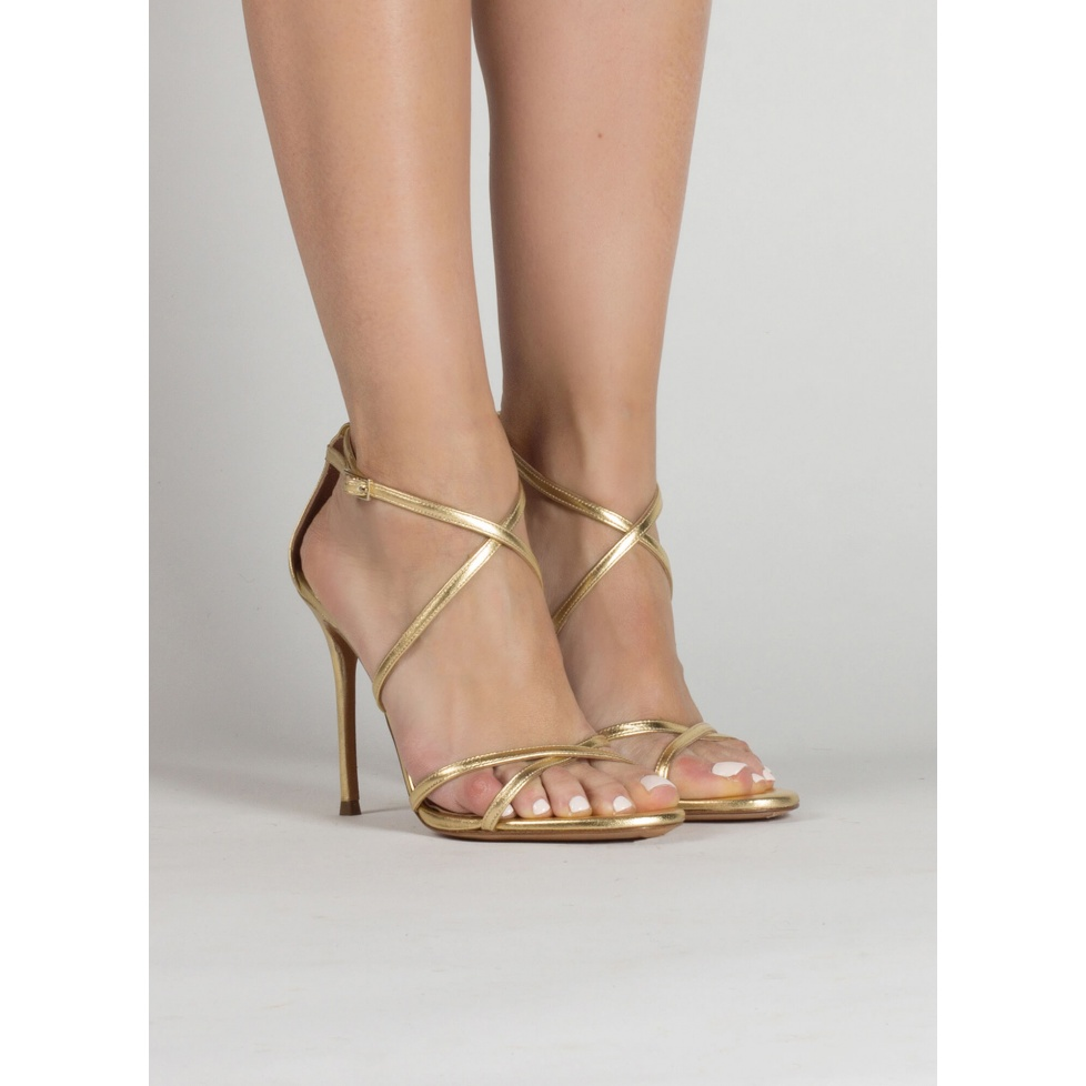 Gold leather strappy high heel sandals