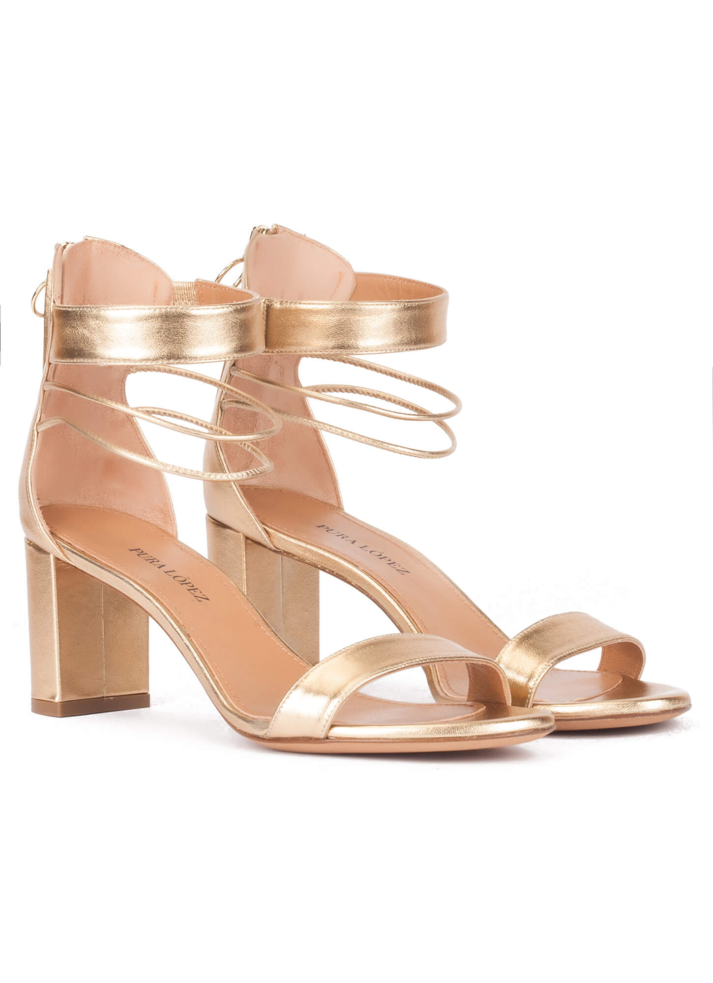 fcfce433823b Gold leather mid block heel sandals with ankle strap. Onore Pura López