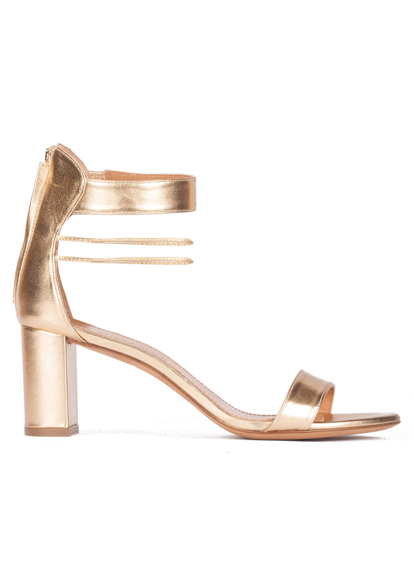 46e2d605690c Onore Pura López. Gold leather mid block heel sandals with ankle strap ...
