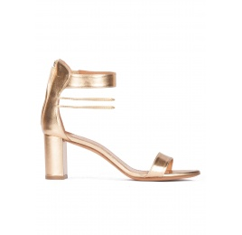 Gold leather mid block heel sandals with ankle strap Pura López