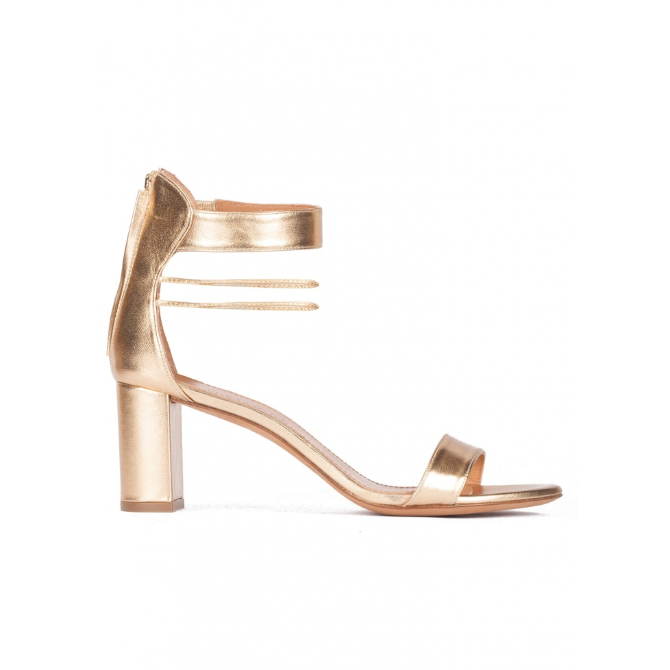 Gold leather mid block heel sandals with ankle strap