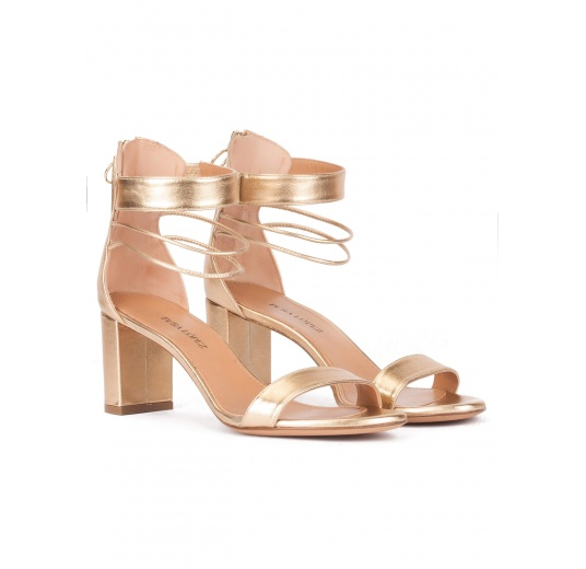Gold leather mid block heel sandals with ankle strap Pura L�pez