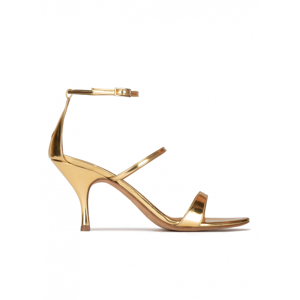 Ankle-strap mid heel sandals in mirrored gold leather