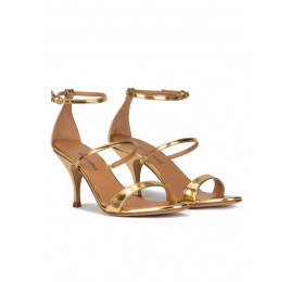 Ankle-strap mid heel sandals in mirrored gold leather Pura López