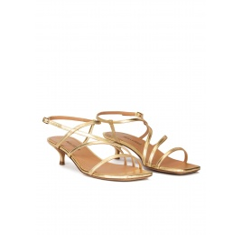 Gold leather strappy mid heel sandals Pura López