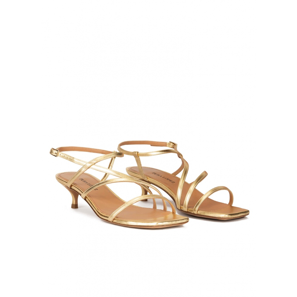 Gold leather strappy mid heel sandals