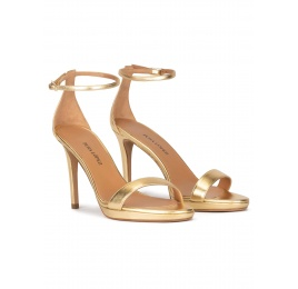 Ankle strap platform high heel sandals in gold leather Pura López