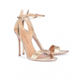 Ankle strap high heel sandals in gold metallic leather Pura López