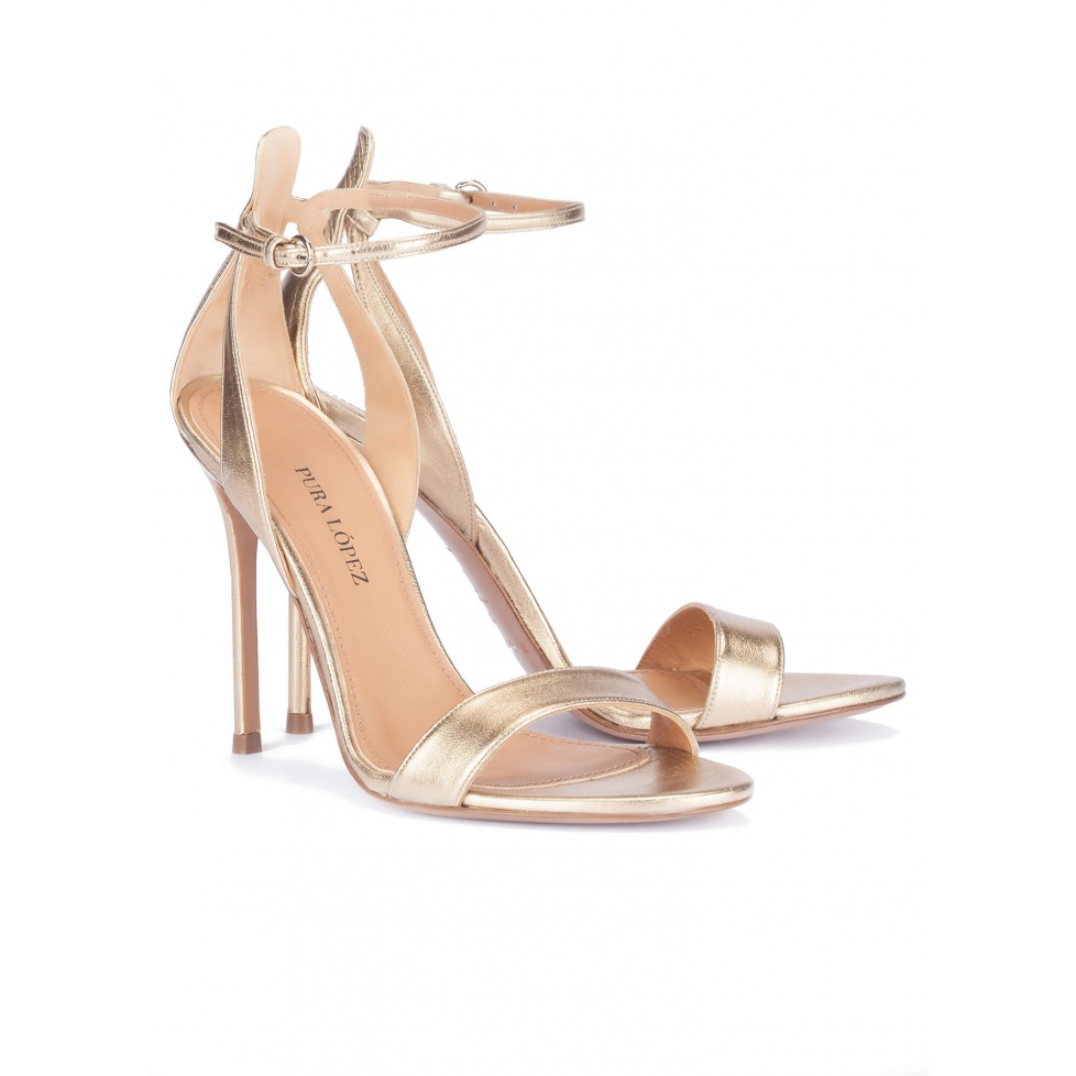 High heel sandals in gold leather - online shoe store Pura Lopez