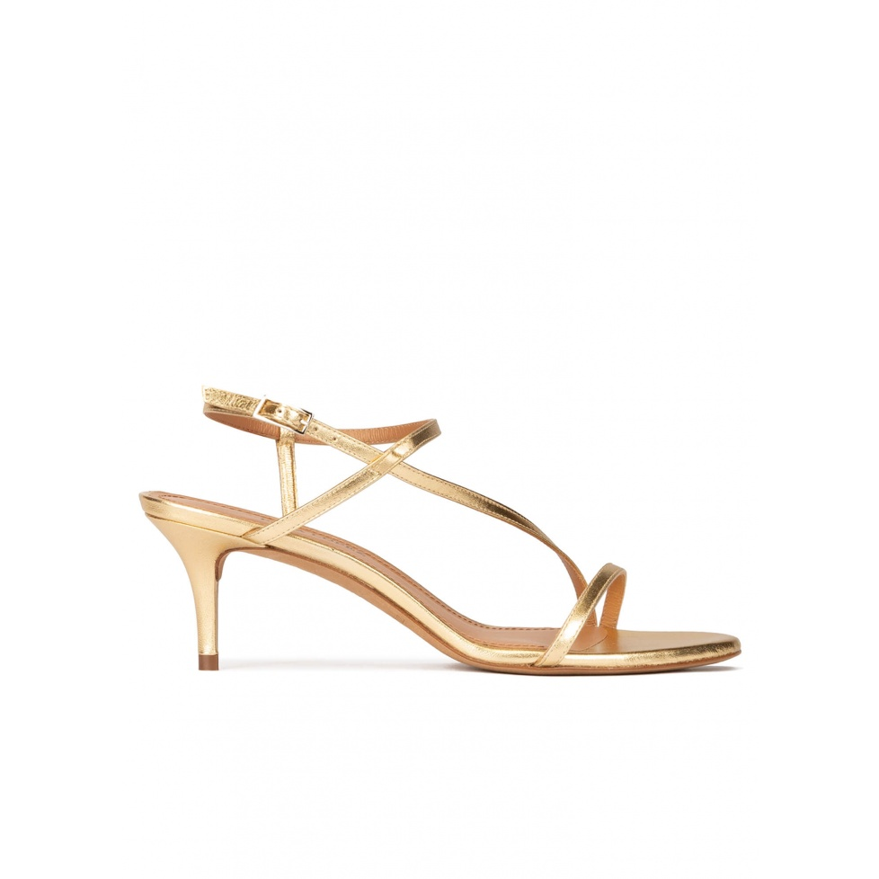 Strappy mid stiletto heel sandals in gold leather