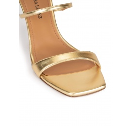 Ankle strap mid heel sandals in gold leather Pura López