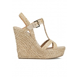 High wedge sandals in taupe raffia and suede Pura López