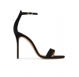 Black suede ankle strap high heel sandals Pura López