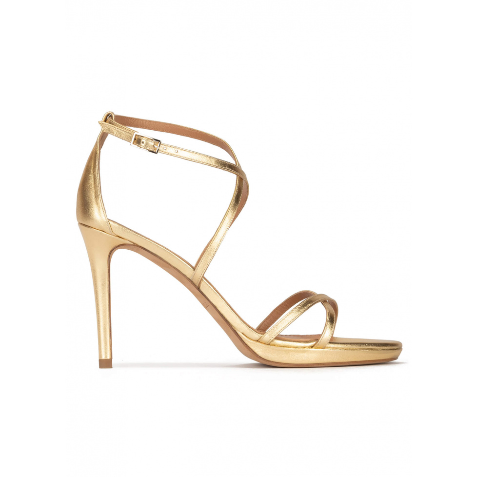 Gold leather platform stiletto heel sandals