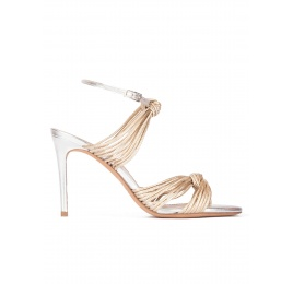 Knotted high-heeled sandals in gold metallic leather Pura López