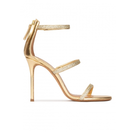High heel sandals in gold metallic leather and glitter Pura López