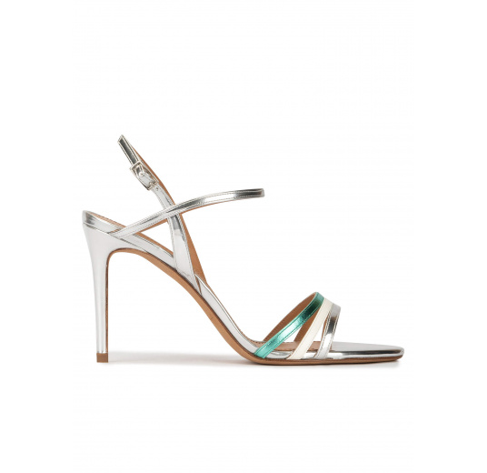 Multcolored high stiletto heel sandals in metallic leather Pura López